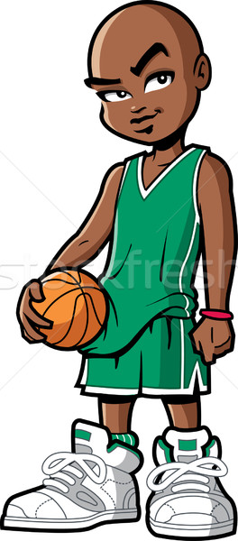 Kosárlabdázó hideg fekete afroamerikai hozzáállás nagy Stock fotó © ClipArtMascots