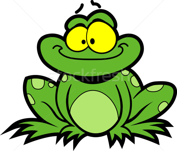 Cartoon rana felice sorridere verde stock Foto d'archivio © ClipArtMascots