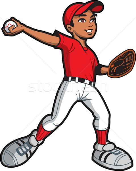 民族 野球 若い男 ソフトボール ピッチ ストックフォト © ClipArtMascots
