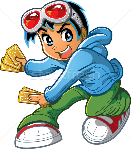 Anime Manga Boy Playing Card Game Stock photo © ClipArtMascots