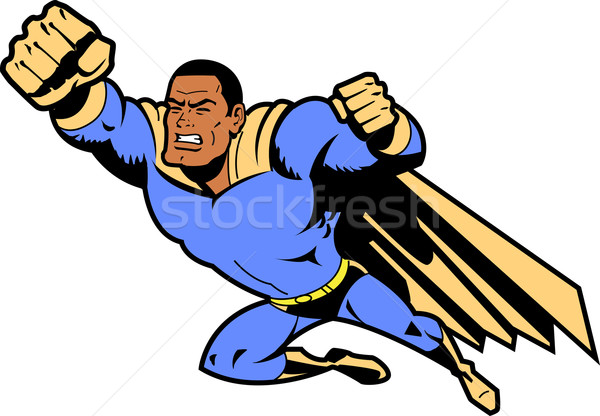 Black Flying Superhero With Clenched Fist Stock photo © ClipArtMascots