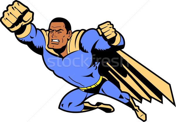 черный Flying superhero кулаком книга человека Сток-фото © ClipArtMascots