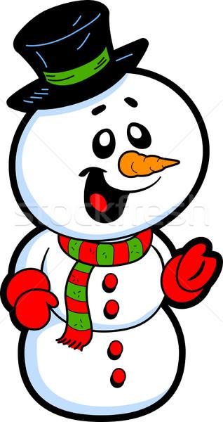 幸せ 雪だるま 笑みを浮かべて 先頭 帽子 ニンジン ストックフォト © ClipArtMascots