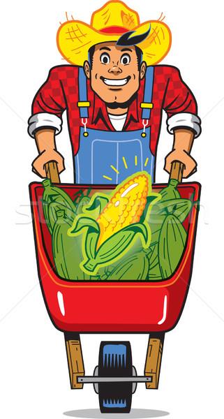 トウモロコシ 農家 幸せ 笑みを浮かべて 手押し車 フル ストックフォト © ClipArtMascots