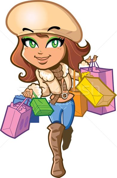 Winkelen meisje mooie stijlvol brunette gelukkig Stockfoto © ClipArtMascots