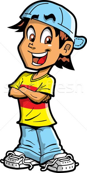 мальчика счастливым улыбаясь весело улыбка Сток-фото © ClipArtMascots