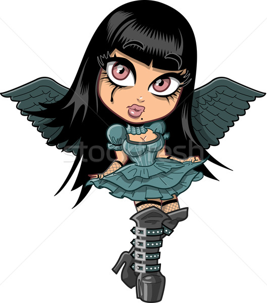 Cute goth fille ailes triste Photo stock © ClipArtMascots