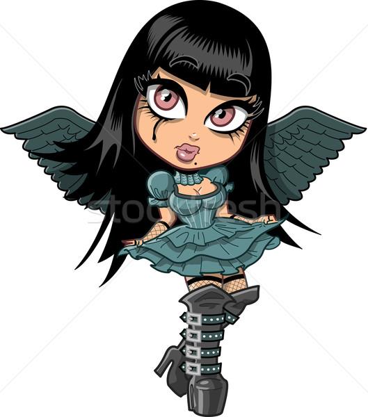 Cute goth meisje vleugels triest eyeliner Stockfoto © ClipArtMascots