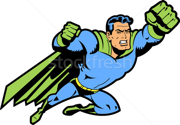 Flying Superhero With Clenched Fist Stock photo © ClipArtMascots