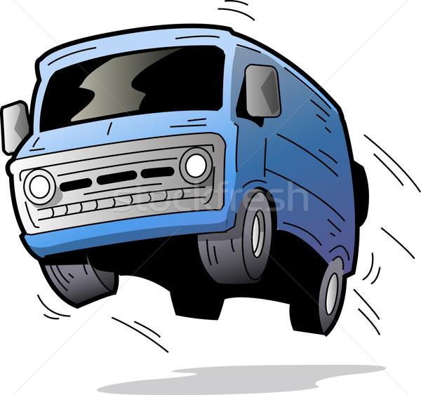 楽しい ヴァン 古い 青 車 バス ストックフォト © ClipArtMascots