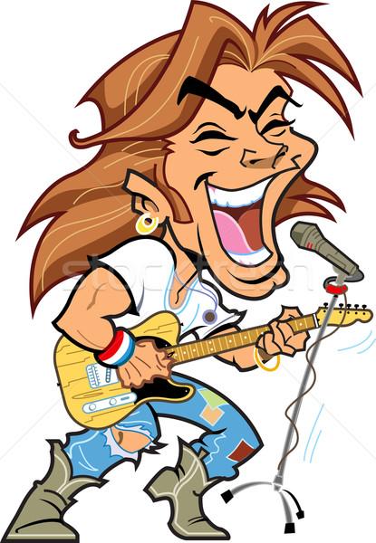 Rock star cool microfono giocare chitarra cantare Foto d'archivio © ClipArtMascots