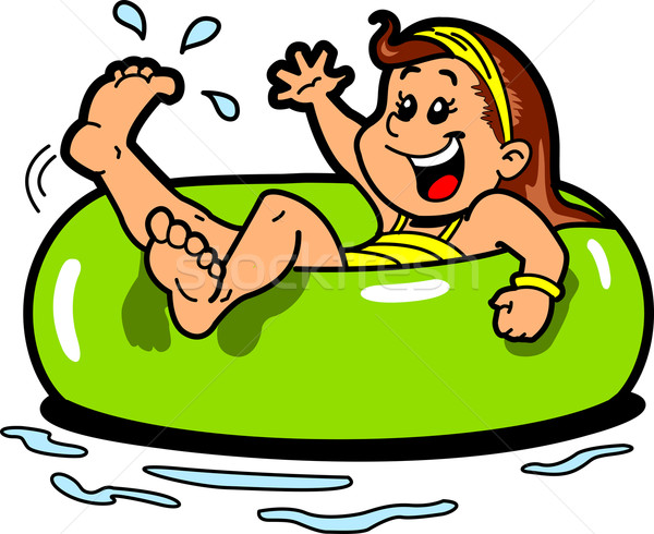 Girl Floating Inner Tube Stock photo © ClipArtMascots