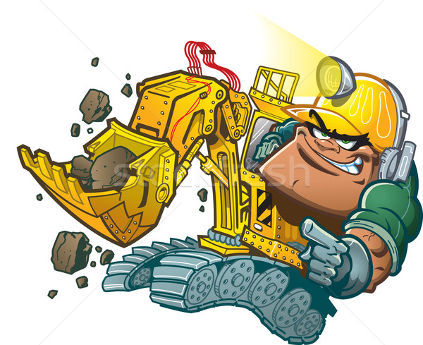 ドライバ 漫画 ヘルメット ランプ 建設 地球 ストックフォト © ClipArtMascots