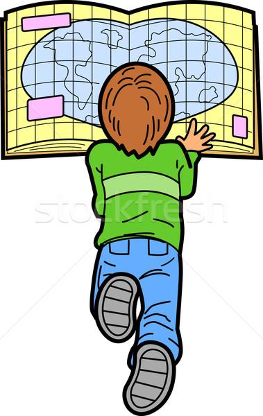 Fiú olvas térkép fektet padló mosoly Stock fotó © ClipArtMascots