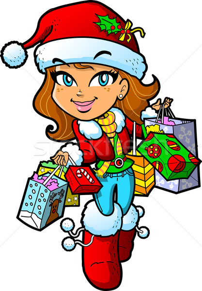Natale shopping ragazza cute bruna Foto d'archivio © ClipArtMascots