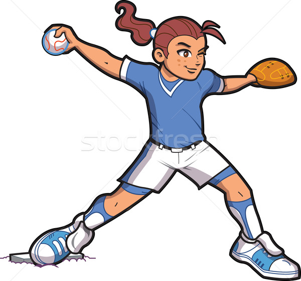 Girl Softball Pitcher Stock photo © ClipArtMascots