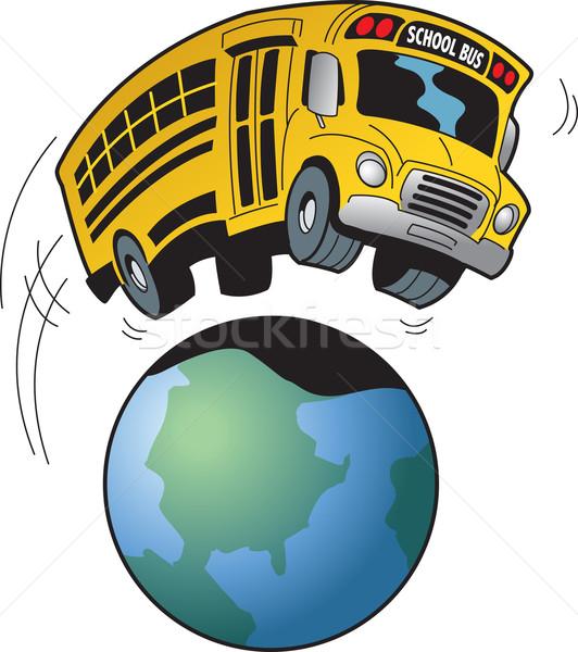 Szkolny autobus wycieczka cartoon drogowego szczęśliwy student Zdjęcia stock © ClipArtMascots