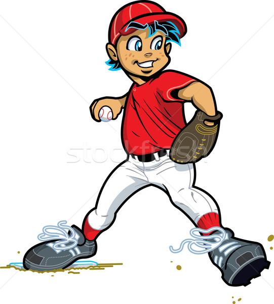 мальчика бейсбольной софтбол спорт мяча Сток-фото © ClipArtMascots