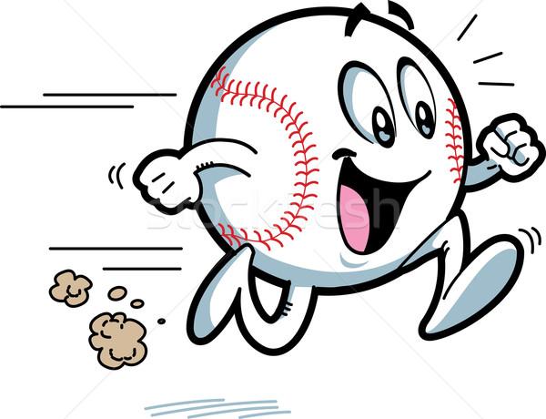 счастливым работает бейсбольной улыбка спорт Сток-фото © ClipArtMascots