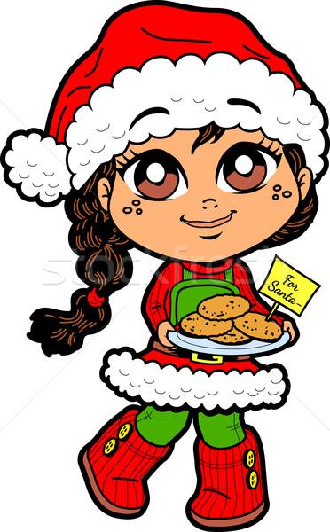 ストックフォト: 少女 · クッキー · サンタクロース · かわいい · 若い女の子 · 帽子