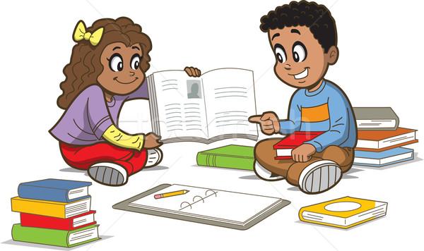 детей книгах счастливая девушка мальчика сидят полу Сток-фото © ClipArtMascots