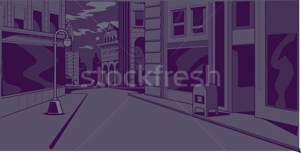 Képregény éjszaka figyelmeztetés jelenet idő általános Stock fotó © ClipArtMascots
