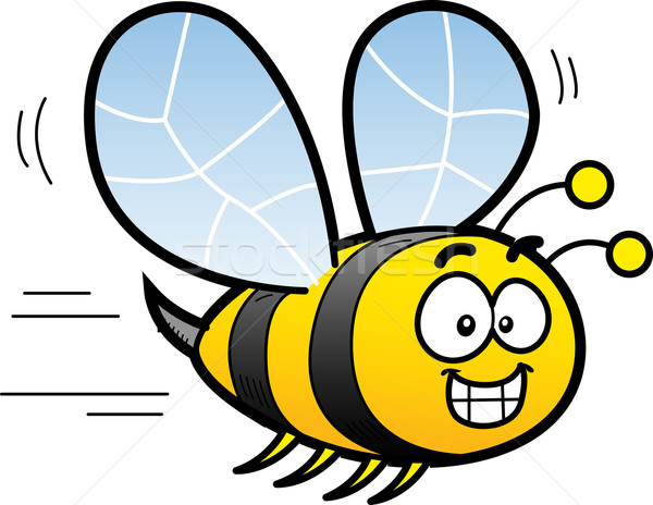 漫画 蜂 幸せ 笑みを浮かべて 飛行 黒 ストックフォト © ClipArtMascots