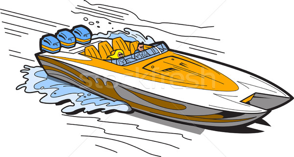 Speedboat On Water Stock photo © ClipArtMascots