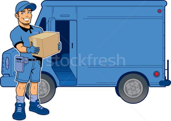 Expressz szállítás férfi teherautó tart csomag áll Stock fotó © ClipArtMascots