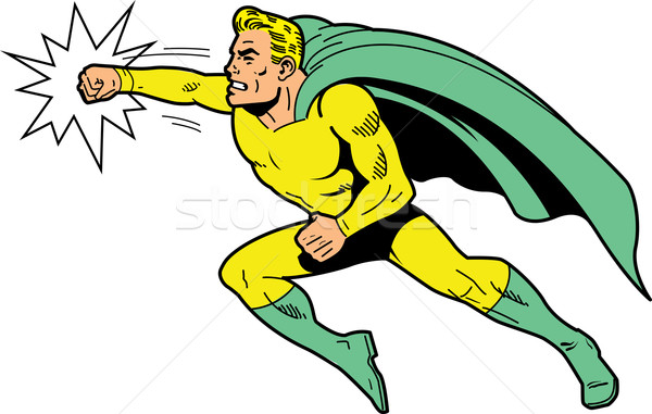 Classic superhero throwing a punch Stock photo © ClipArtMascots