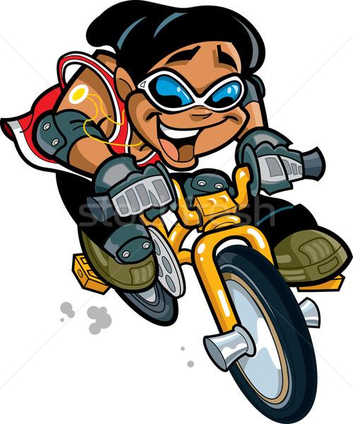 笑みを浮かべて 少年 ライディング 自転車 幸せ 民族 ストックフォト © ClipArtMascots