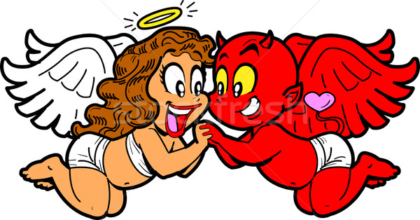 Angel and Devil In Love Stock photo © ClipArtMascots