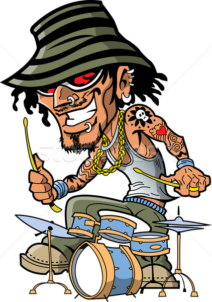 Tattoo Drummer Stock photo © ClipArtMascots