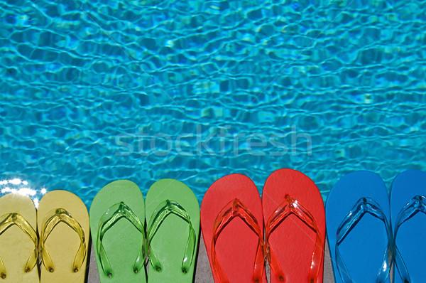 Verão família quatro piscina água Foto stock © cmcderm1