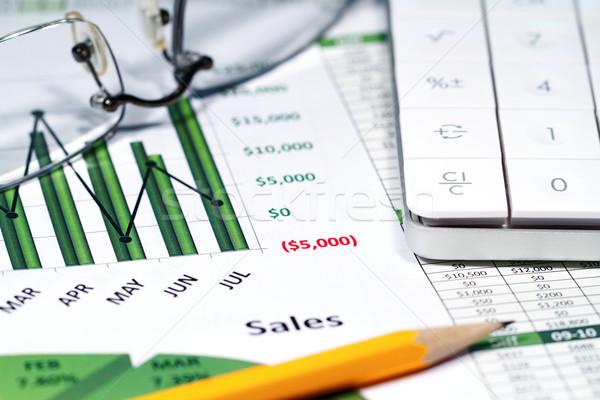 Kleur charts calculator potlood bril Stockfoto © cmcderm1