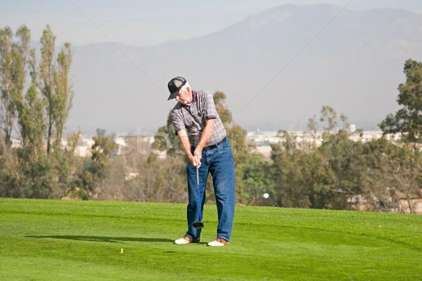 Golfbaan actie golfer golf land club Stockfoto © cmcderm1