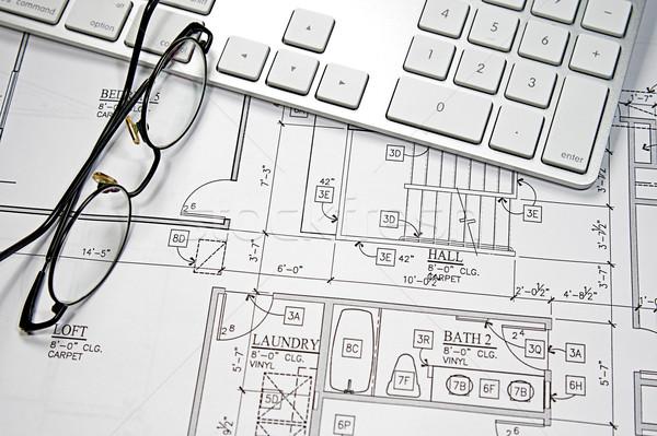Ordenador plan moderna oficina construcción Foto stock © cmcderm1