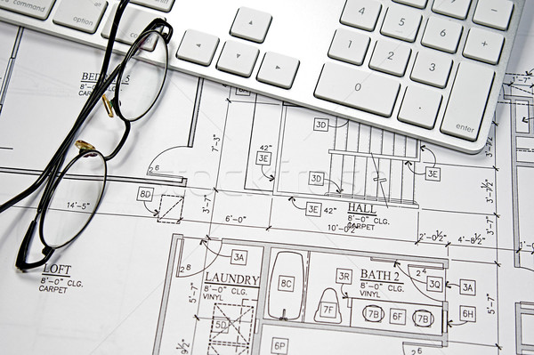 Computer blauwdruk moderne kantoor bouw Stockfoto © cmcderm1