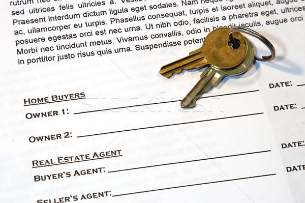 Sözleşme ev satış yeni ev sahte metin Stok fotoğraf © cmcderm1