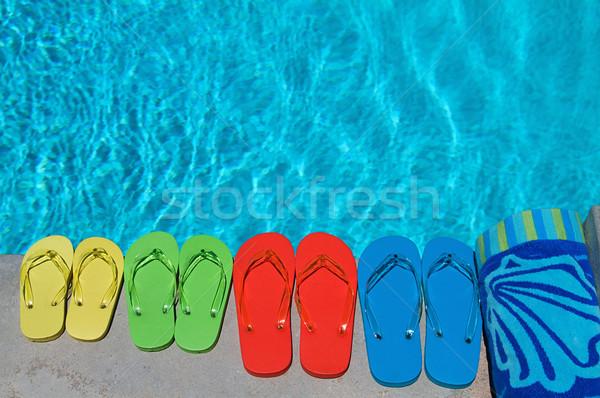 Lata kolorowy rodziny cztery basen wody Zdjęcia stock © cmcderm1