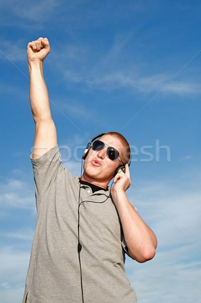Müzik kulaklık serin genç mutlu ibadet Stok fotoğraf © cmcderm1