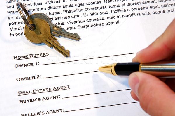 Zdjęcia stock: Umowy · domu · sprzedaży · nowy · dom · podróbka · tekst
