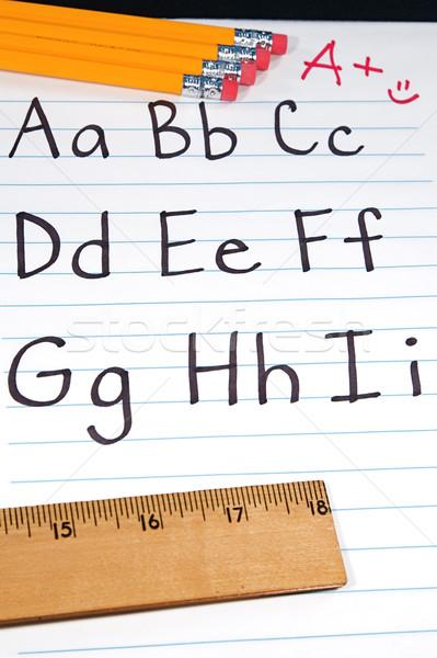 Eğitim yazılı mektup alfabe Öğrenciler notepad Stok fotoğraf © cmcderm1