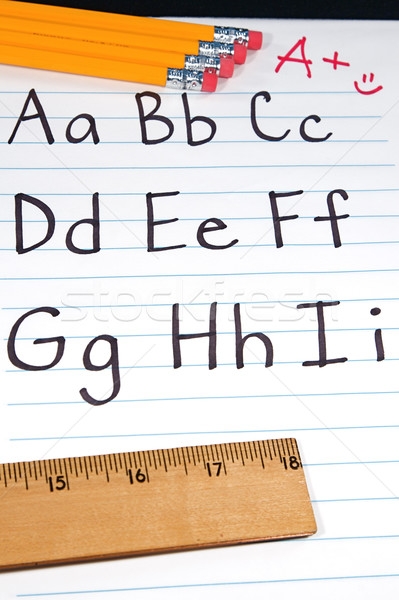 éducation écrit lettre alphabet élèves notepad Photo stock © cmcderm1
