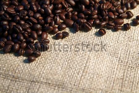 Koffie koffiebonen jute zak vers voedsel Stockfoto © cmcderm1