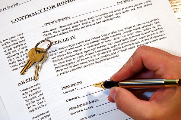 Vertrag home Verkauf neues Zuhause Fake Text Stock foto © cmcderm1