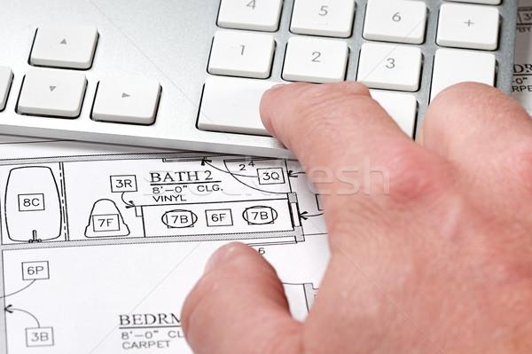 Computer blauwdruk moderne kantoor hand Stockfoto © cmcderm1