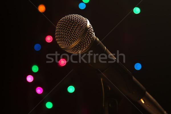Mikrofon sahne sanatçı spot ışıklar Stok fotoğraf © cmcderm1