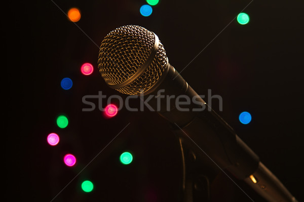 Microfone etapa popular artista local luzes Foto stock © cmcderm1