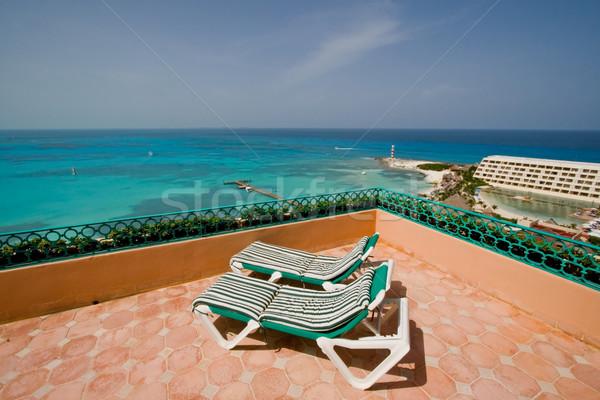 Resort balcone lounge sedie hotel cancun Foto d'archivio © cmcderm1